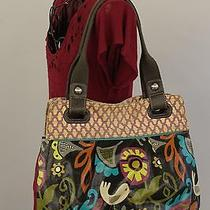 Fossil Keyper Coated Canvas Leather Xl Tote Shopper Purse Boho Birds Print Vguc Photo