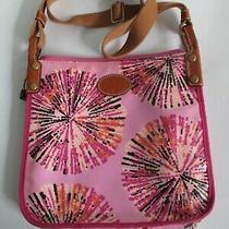 Fossil Keyper Crossbody Handbag Pink Raspberry Multi Starburst Coated Canvas Photo