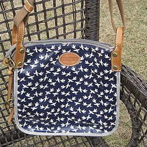 Fossil Keyper Crossbody Navy Grey Bird Zip Top  Photo