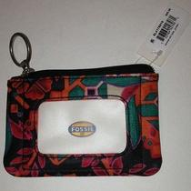 Fossil Keyper Floral Color Wallet With Clear Id Slotcoins & Key Ring Zipper Photo