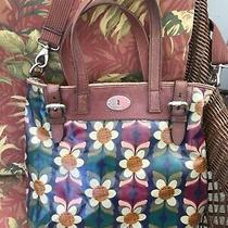 Fossil Keyper Large Shoulder Bag/tote in Navy W/ Brown Flowers Photo