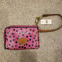 Fossil Keyper Nwt Wallet Pink Polka Dots Turquoise Coated Canvas Swl1038690 Photo