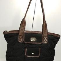 Fossil Keyper  Quited Black Brown Nylon Medium Tote Handbag Photo