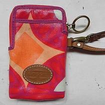 Fossil Keyper Red Orange Wristlet Phone Id Carryall Wallet   Photo