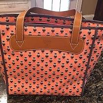 Fossil Keyper Shopper Owl Handbag Tote Purse Coral 118 New Canvas Leather  Photo
