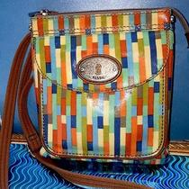 Fossil Keyper Sl3088 Crossbody Purse Handbag Coated Canvas Vertical Stripe Photo