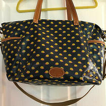 Fossil Keyper Tote-Navy Bag With Yellow and Pink Hedgehogs  Euc Photo
