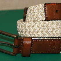 Fossil Khaki Braided Material/genuine Leather Mens Casual Belt Size 38/95 New Photo
