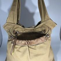 Fossil Khaki Canavs With Leather Trim Tote Bag Shoulder Bag Purse Photo