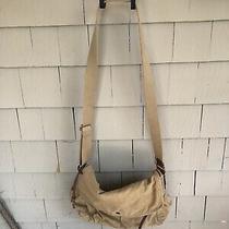 Fossil Khaki Heavy Duty Cotton & Leather Trim Messenger Bag / Satchel / Lined Photo