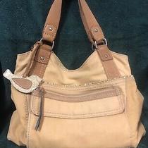 Fossil Khaki/yellow Corduroy & Canvas Shoulder Hobo Tote Bag Purse Photo