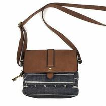 Fossil Kinley Small Crossbody Purse Cognac Brown Leather and Navy Striped Bag Photo