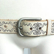 Fossil L Ivory Beige Leather Baroque Silver Stud Rockstar Biker Gothic Punk Belt Photo