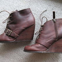 Fossil Ladies Charlene Wedge Brown Leather Ankle Boots Size Usa 9 Photo