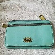 Fossil Ladies Mid Sized Clutch Teal Leather With Front Flap & Gold Hardware Photo