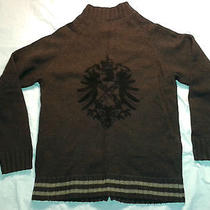 Fossil Lambswool Nylon Blend Double Zip Brown Eagle Sweater Womens Youth Xl Photo