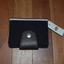 Fossil Lane Vertical Card Case Black Brown Canvas 3 X 4.25