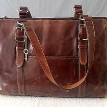 Fossil Laptop Computer Bag Case Leather Brown Women Vintage Photo