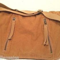 Fossil Laptop Cross Body Messenger Satchel Bag Purse Soft Khaki Tan Corduroy  Photo