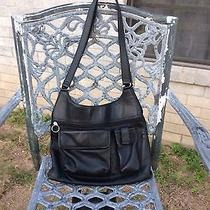Fossil Large Black Leather Shoulder Bag Purse Photo