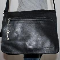 Fossil Large Black Leather Shoulder Hobo Messenger Cross Body Slouch Purse Bag Photo