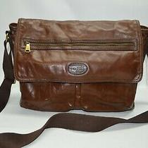 Fossil Large Brown Genuine Leather Flap Messenger Laptop Shoulder Bag  Photo