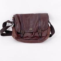 Fossil Large Brown Genuine Leather Flap Messenger Laptop Shoulder Bag Satchel  Photo
