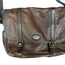 Fossil Large Brown Leather Laptop Bag Briefcase Messenger Bag Photo