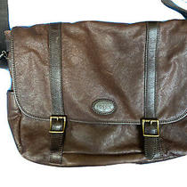 Fossil Large Brown Leather Laptop Bag Briefcase Messenger Bag Photo