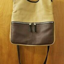 Fossil Large Brown Tan Black Leather Erin Fold-Over Cross-Body Purse Tote Bag Photo