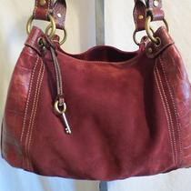 Fossil Large Burgundy Suede & Croco Leather Shoulder/hobo Handbag/purse Photo