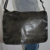 Fossil Large Faded Black Leather Shoulder Messenger Cross Body Slouch Purse Bag Photo
