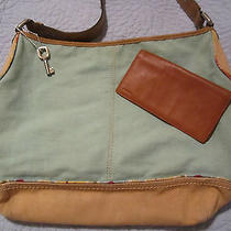 Fossil Large Green Canvas Bag in Guc With Gift Photo