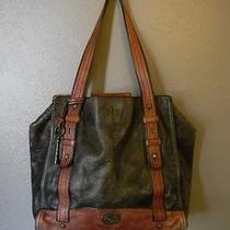 Fossil Large Leather Tote Shopper Diaper Bag Luggage Travel Distressed Weather Photo