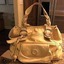 Fossil Large Leather Tote Yellow- Lots of Pockets Magnetic Closures Clean Photo