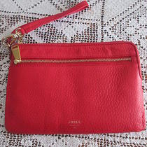 Fossil Large Leather Wristlet in Red Photo