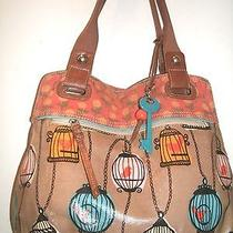 Fossil Large Multi-Color Coated Canvas Key Per Bird Cage Tote Super Cute Euc Photo