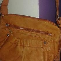 Fossil Large  Orange Pebble Leather Crossbody Shoulder  Bag Photo