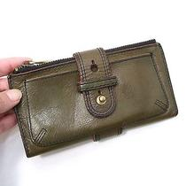 Fossil Large Organizer Wallet Green Antique Leather Photo
