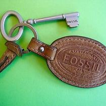 Fossil Large Purse Replacement Hang Brown Leather Nickel Tone Key Fob Ring Euc Photo