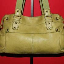 Fossil Large Retro Key Lime Green Pebbled Leather Shoulder Hobo Tote Purse Bag Photo