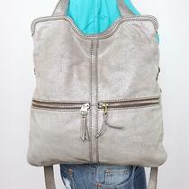 Fossil Large Silver Leather Shoulder Hobo Tote Satchel Purse Bag Photo