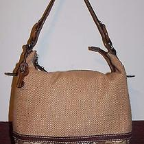 Fossil Large Solid Straw/canvas/leather Shoulder Bag Photo