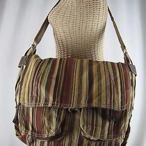 Fossil Large Striped Messenger Book Shoulder Crossbody Multi-Color Bag Roomy Photo