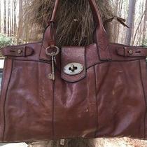 Fossil Large Vintage Weekender Key Latch Tote-Handbag Purse-Brown Leather-Gc Photo