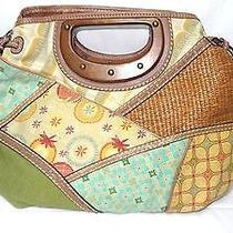 Fossil Large Wood Straw Patchwork Clutch Purse Handbag W/key Fob Leather Trim Photo