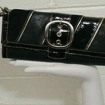 Fossil Large Wristlet Clutch Black Three Leather & Silver Tone Trim & Buckle  Photo