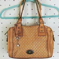 Fossil Laser Cut Leather Marlow Satchel Camel Handbag Purse Photo