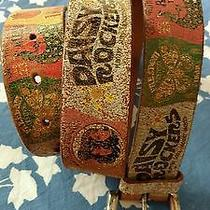 Fossil Leather 1969 Daisy Rocker Retro Distressed Look Belt Sz M Hippie Collage Photo