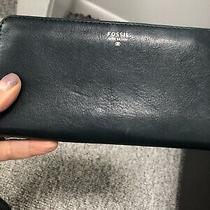 Fossil Leather Accordion Sydney Wallet  Green Blue Zip Around Clutch Wristlet Photo